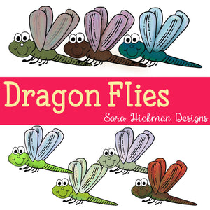 Chubby Cheek Clipart: Dragonflies
