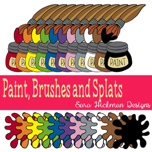 Chubby Cheek Clipart: Paint, Brushes and Splats
