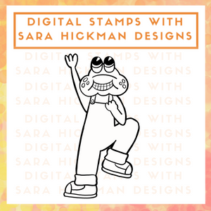 Digital Stamps:  Carl the Excited Frog