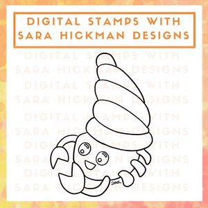 Digital Stamps: Hermit Crab