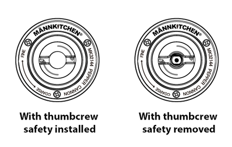 Thumbscrew Safety Operation - Pepper Cannon