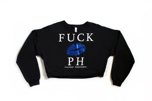 FUCK PH LIPS CROP TOP SWEATER | BLACK