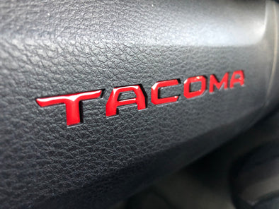 red toyota tacoma raised / domed glovebox decal / insert