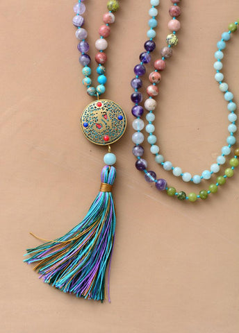 Image of 108 Beads Unique Handmade Jasper Agate and Amazonite Necklace With Nepal Charm And Long Tassel