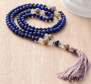 Handmade 108 Beads Lapis Lazuli Necklace With Picture Jasper And Colorful Tassel