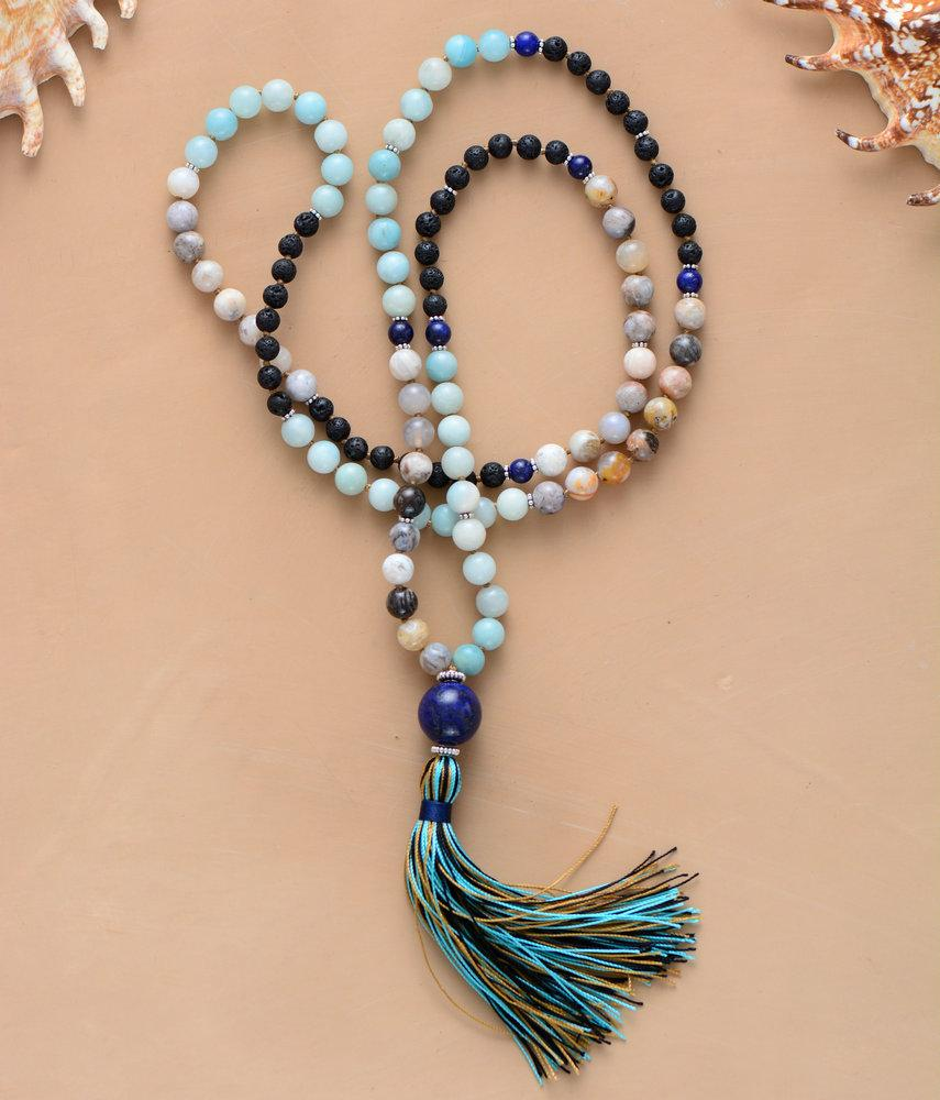 108 Beads Handmade Amazonite Jasper Lava Stone Necklace with Long Tassel
