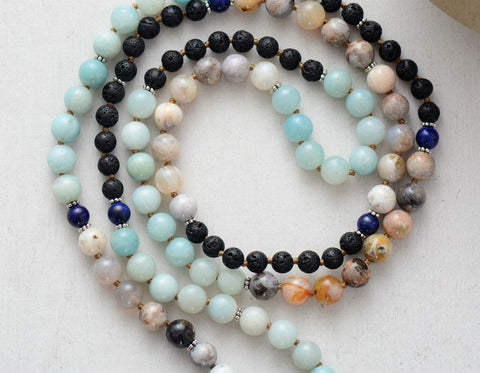 Image of 108 Beads Handmade Amazonite Jasper Lava Stone Necklace with Long Tassel