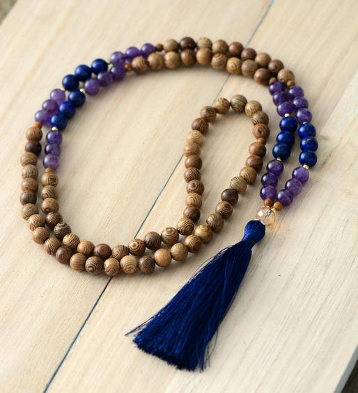 108 Handmade Mala Beads Robles Wood Amethyst Lapis Lazuli Necklace With Long Tassel