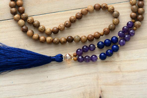 Image of 108 Handmade Mala Beads Robles Wood Amethyst Lapis Lazuli Necklace With Long Tassel