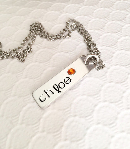 Name necklace - Hand stamped jewelry