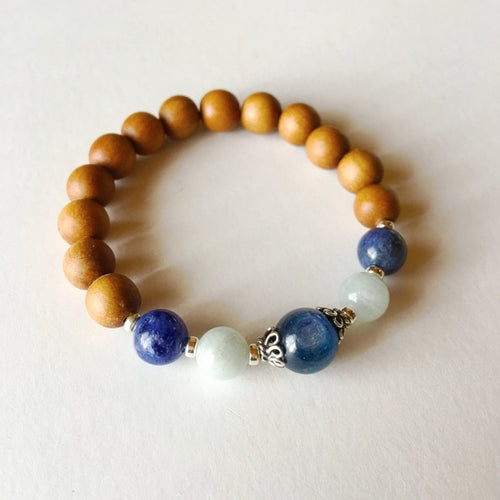 Throat Chakra Bracelet ~ Sandalwood, Kyanite, Aquamarine, Sodalite