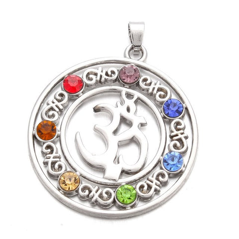 Image of 7 Chakras Om Symbol Pendant Necklace