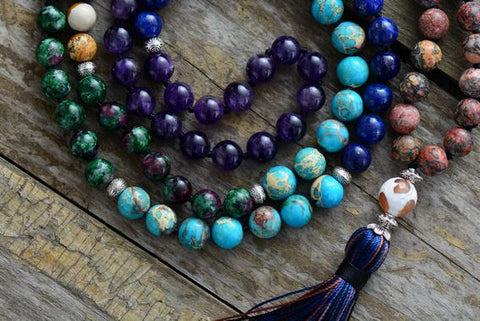 Image of 7 Chakras Unique Handmade Mixed Stone Mala Beads With Long Tassel
