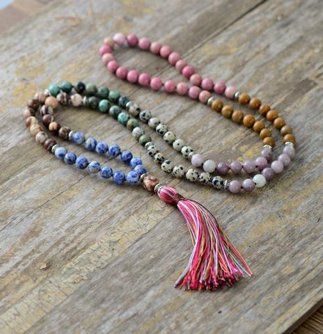 Image of Handmade 7 Chakras  Unique Jasper Agate Necklace With Long TasselRegular price