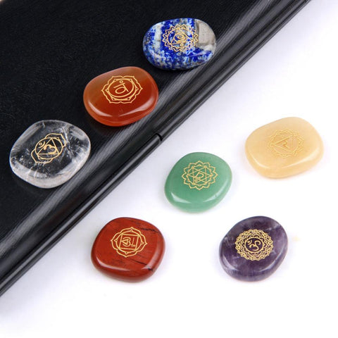 Image of 7pc/Set of Engraved Chakra Balancing Stones