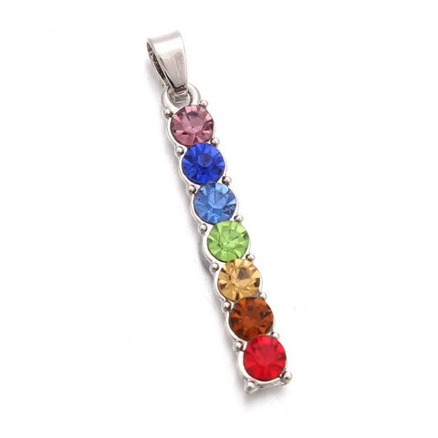 Image of 7 Chakras Vertical Pendant Necklace
