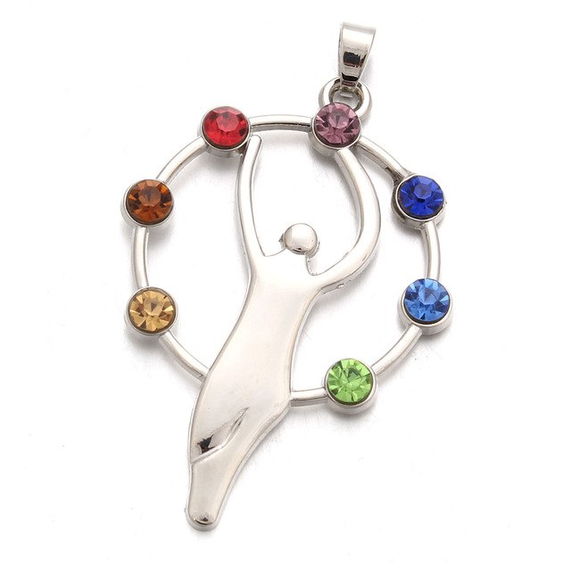 7 Chakras Woman Rising Pendant Necklace