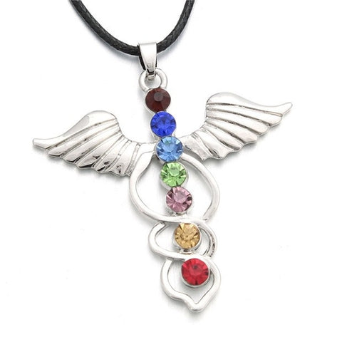 Image of 7 Chakras Angel Wings Pendant Necklace