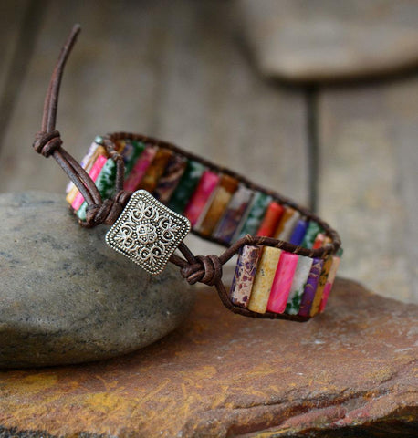 Image of Unique Handmade Tube Shaped Jasper Single Leather Wrap Bracelet