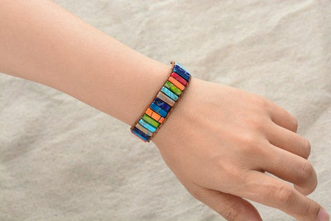Image of Handmade Multi Color Chakra Bracelet