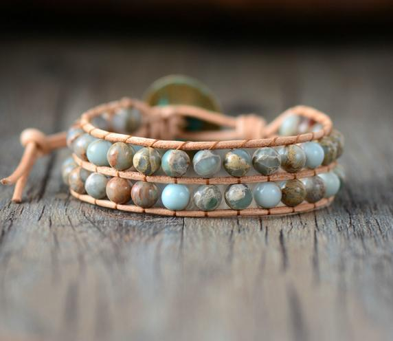 Handmade  Jasper Stone Genuine Leather Wrap Bracelet