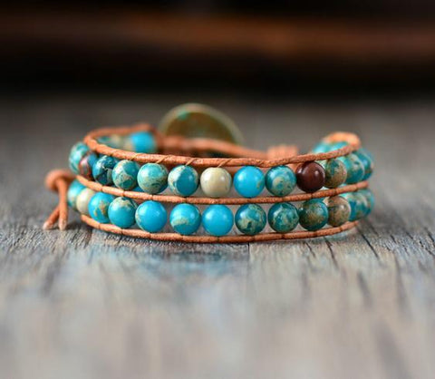 Image of Handmade  Jasper Stone Genuine Leather Wrap Bracelet