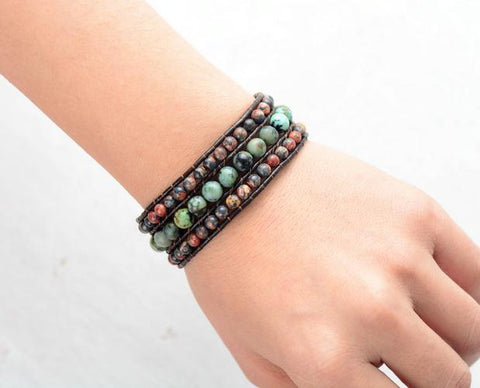 African Turquoise Cuff Leather Bracelet