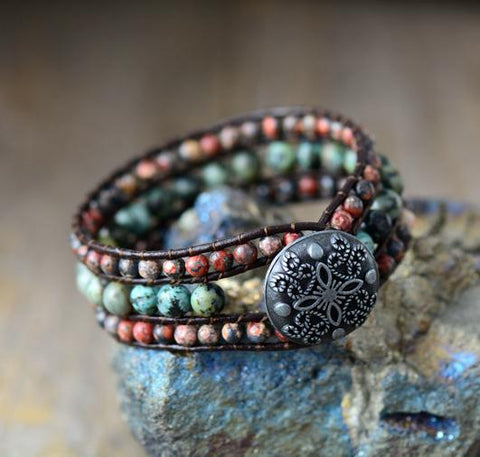 Image of African Turquoise Cuff Leather Bracelet