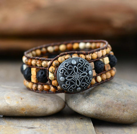 Image of Handmade Picture Japser And Lava Stone Leather Wrap Bracelet