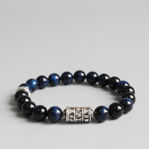 Handmade Blue Tiger's Eye Stone Bracelet With Tibetan Mantra Totem Charm
