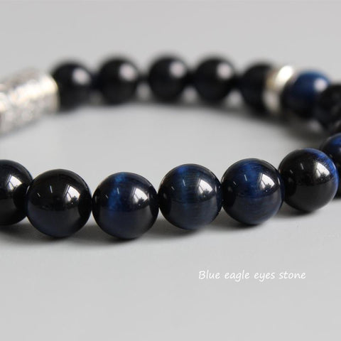 Image of Handmade Blue Tiger's Eye Stone Bracelet With Tibetan Mantra Totem Charm