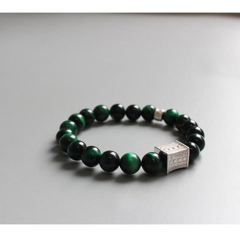 Image of Green Cobra Eye Stone Tibetan Charm Bracelet