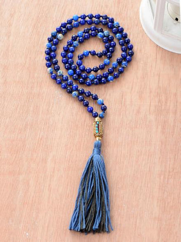 Image of Lapis Lazuli and Jasper Necklace With Nepal Beads Long Tassel