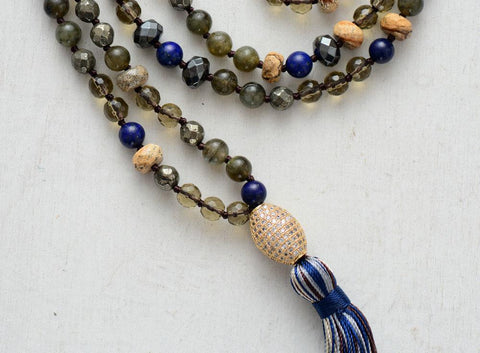 Handmade Smoky Quartz Labradorite And Pyrite Necklace With Cubic Zirconia And Tassel