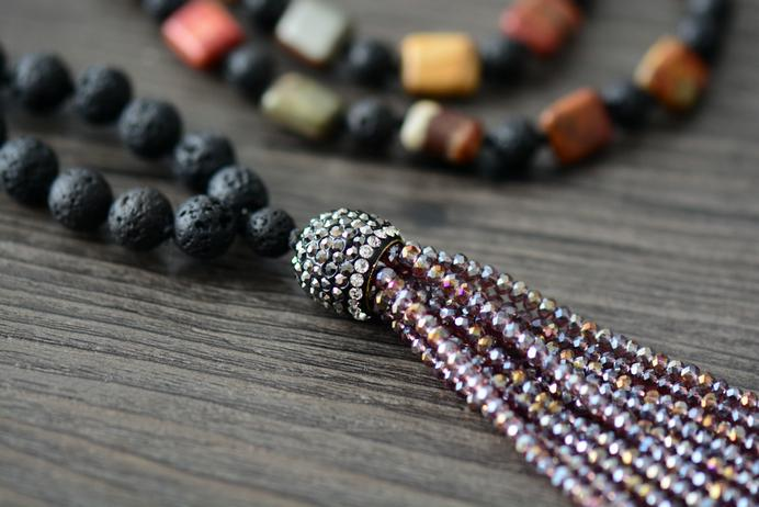 Unique Handmade Jasper And Lava Stone Necklace with Crystal Tassel