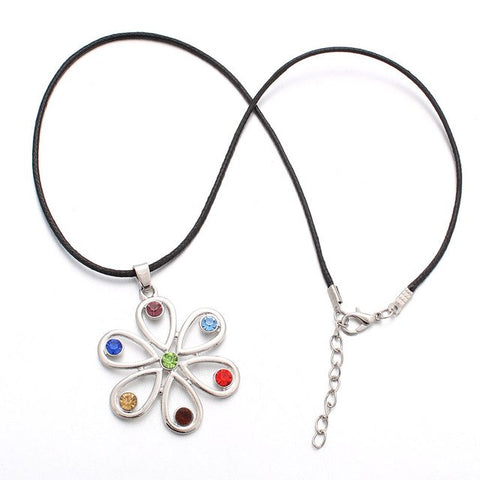 Image of 7 Chakras Flower Necklace