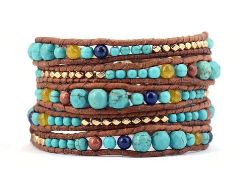 Image of Turquoise Stone with Leather & Gold beads bracelet