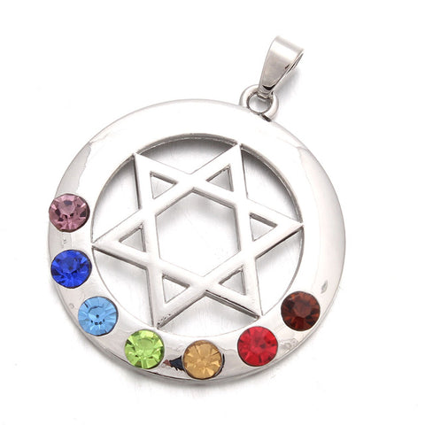 Image of 7 Chakras Hexagram Pendant Necklace