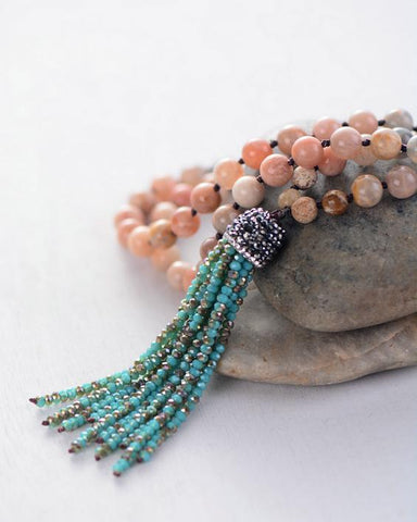 Image of Handmade Sunstone Necklace with Crystal Tassel