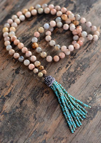 Handmade Sunstone Necklace with Crystal Tassel