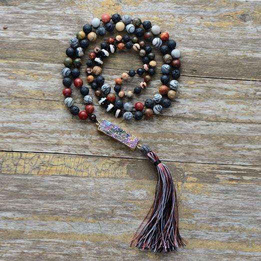 Unique Handmade Jasper, Agate And Lava Stone Necklace With Long Tassel