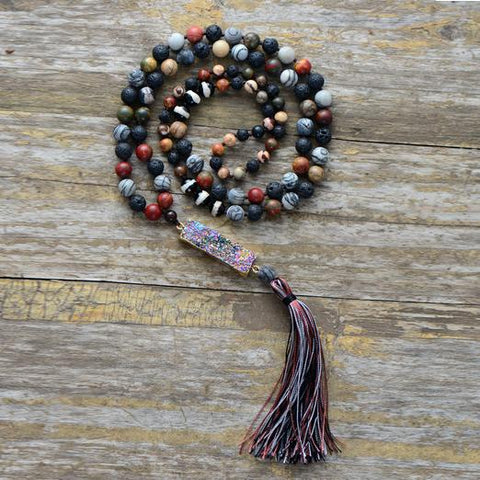 Image of Unique Handmade Jasper, Agate And Lava Stone Necklace With Long Tassel