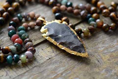 Image of Handmade Tiger Eye Jasper Agate Necklace With Gilded Black Jasper Arrowhead