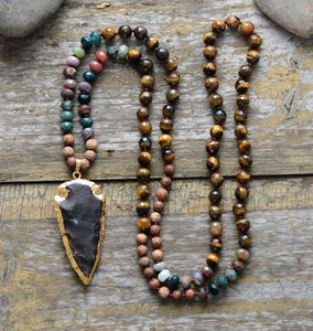 Handmade Tiger Eye Jasper Agate Necklace With Gilded Black Jasper Arrowhead