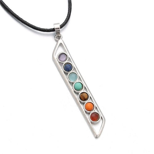 7 Chakras Vertical Pendant Necklace