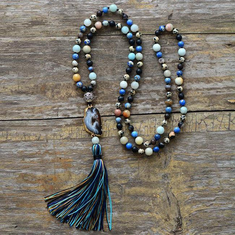 Image of Unique Handmade Necklace With Mixed Jasper Amazonite Agate Stones And Long Tassel
