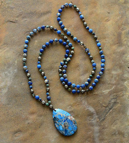 Image of Handmade Jasper And Pyrite Stone Necklace With Teardrop Pendant