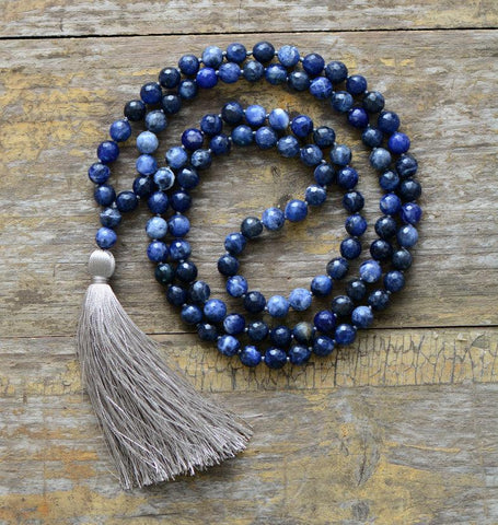 Image of Unique Handmade 108 Beads Faceted Sodalite Necklace with Soft Tassel