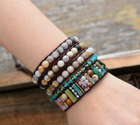 Unique Handmade 6MM Matte Jasper 3 Strands Wrap Leather Bracelet