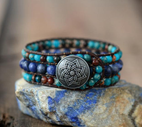 Unique Handmade Jasper And Sodalite Stone Leather Cuff Bracelet